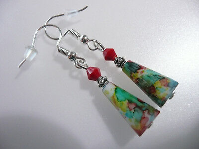 Vintage Art Deco Style Crystal & Colourful Mottled Teardrop Glass Long Earrings
