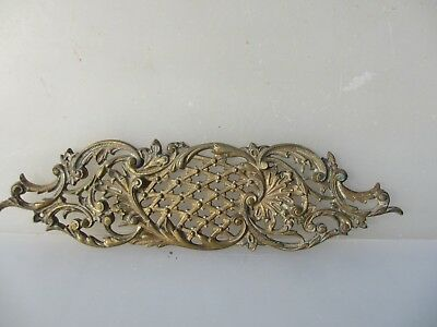 Victorian Brass Door Handle Finger Push Plate Rococo Antique Old WT&S Tonk 1891
