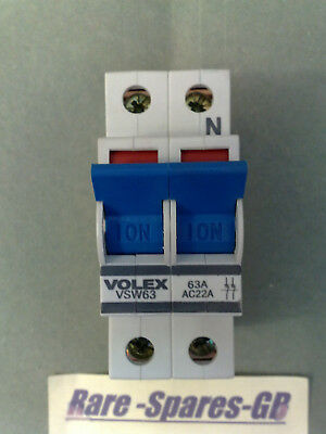 *new* Volex Vsw63 Double Pole Main Switch 63A 63 Amp Ac22A Bsen 60947-3 240/415V