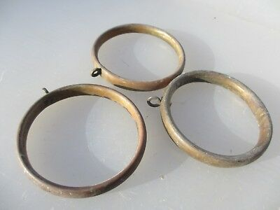 """Large Antique Brass Curtain Rings Victorian Holder Hangers Brackets Old x3  3""""W"""