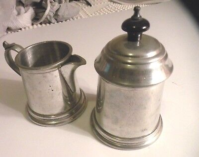 Vintage Pewter Sugar And Creamer Made By Craftsmen in Sheffield England