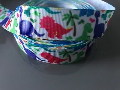 "Grosgrain Colourful Dinosaur with Trees Ribbon 7/8"" 22mm"