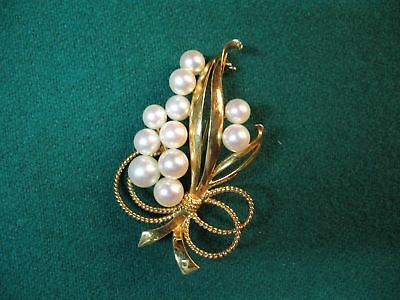 Mikimoto 11 Pearl Bow Flower Bouquet Pin Brooch 14K Gold Vintage 12 Grams OFFER