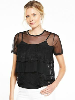 V By Very Mesh Frill Lace Tiered Top Black Size UK 14 rrp £28 DH088 JJ 24