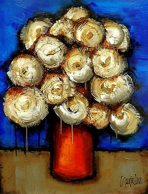 WHITE FLOWERS ART contemporary Abstract MADE TO ORDER PAINTING by SLAZO