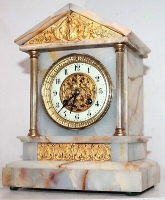 ANTIQUE 19th C. MOSAIC ALABASTER JAPY FRERES FRENCH CLOCK W/ GOLD ORMOLU ACCENTS