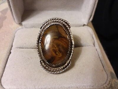 Antique Burl Wood Ring Stone Cabochon Scrap Stone Harvest Sterling Silver