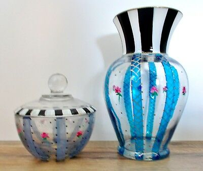 SET 2 HAND PAINTED ART GLASS VASE AND COVERED TRINKET DISH BLACK & WHITE w/ROSES