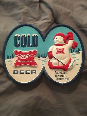Vintage Cold Miller High Life Beer Plastic Sign - Snowman Christmas * Last One