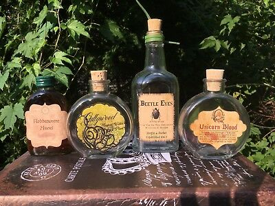 Labels Only Gillyweed,Beetle Eyes,Flobberworm,Unicorn Blood Harry Potter Potion