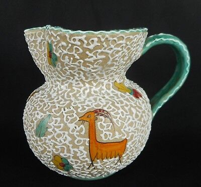 Italian Deruta Tube Lined Pottery Jug Decorated With Stylised Animals