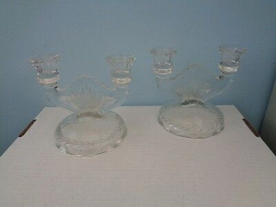 Vintage/Antique Pressed Glass Candle Holders - Clear Sunburst Design - EAPG