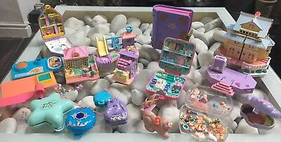 Huge Job Lot Collection Of Polly Pocket Plus Box Of Figures Vintage Blue Bird