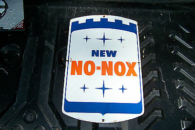 Vintage Gulf New No-Nox Porcelain Gas Pump Plate Sign