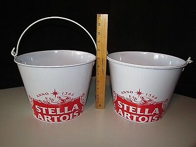 (2) Stella Artois Beer Ice Bucket For Bottles Cans Chalice Beer Bar Man Cave Pub
