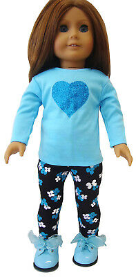 "For 18"" American Girl Doll Clothes Cute 2 Piece Blue heart Top & Leggings Outfit"