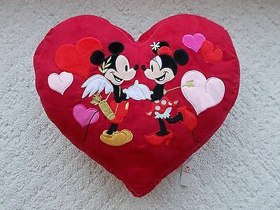 Two!! Large Heart Shape Red Pillows With Cupid Mickey Mouse And Minnie Mouse New