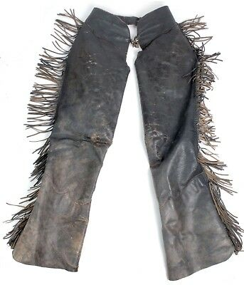 Vintage 60s Black Leather Fringed Motorcycle Biker Chaps w/Zipper Sides Harley