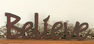 New Primitive Country BELIEVE Wood Word Sign Block Shelf Sitter Red Burgundy