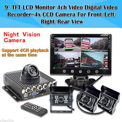 """9"""" Quad Monitor DVR Recorder Backup Rearview Camera System For Truck Trailer BUS"""