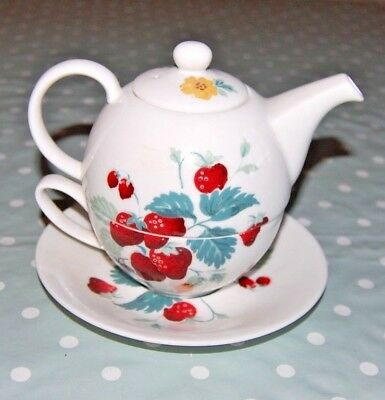 Laura Ashley Fine Bone China Strawberry Decoration Tea For One.