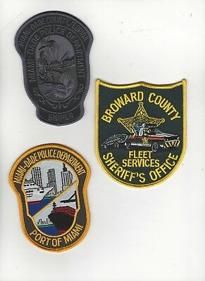 Miami Area Police  patches Set of 3- RESTRICTED SALE