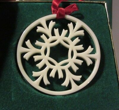 Vintage Lenox China Snowflake Ornament Christmas Silver Frost in Box Red Ribbon