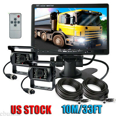 """2x 4Pin Cable IR Rear View Backup Camera System+7"""" Monitor F Truck RV Bus 12-24V"""