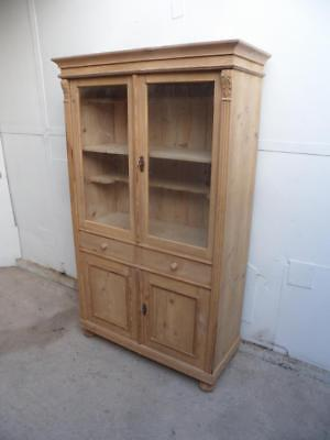 A Rare Victorian Antique/Old Pine 4 Door 2 Drawer Display Cabinet to Wax/Paint