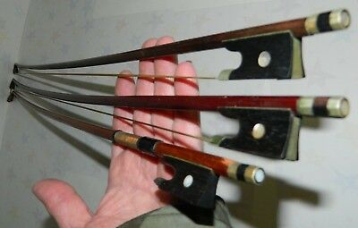 3 Antique Violin Bows For Restoration Or Parts 1 Is Marked Japan, 2 Are Unmarked