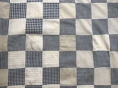 """Anrique Quilt Top 70"""" X 66"""" Cotton Gingham & Calico Patch, Hand Stitched!"""