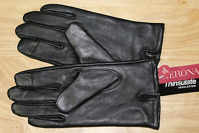 New– Men'S Merona Black Genuine Leather Gloves W/ 3M Thinsulate - Sz Large- Nwt