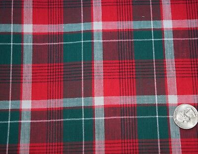 6896 1 yd vintage 1950's cotton fabric, Thread dyed plaid, red, green, white