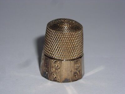 Vintage Victorian Simon Bros 14k Yellow Gold Etched Thimble Size 10