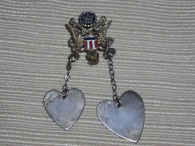 Vintage United States Sweetheart Mothers Brooch Coro WW2 Era  Eagle with Flag