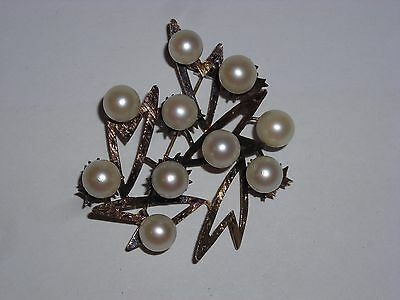 Vintage Artist Signed SA 14k Yellow Gold & 8mm Cultured Pearl Brooch Pin