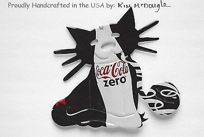 Cat Christmas Ornament Handmade Recycled Aluminum Metal Zero Cola Soda Pop Can