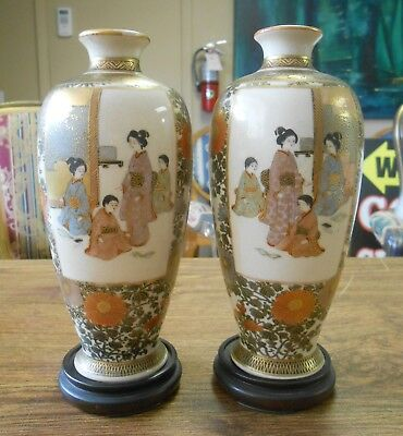"""Antique Pair Meiji Period Fine Quality Satsuma Vases on Wood Stands Signed 6"""""""
