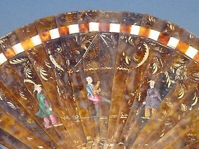 Early 19th c brisé FAN unusual image Chinese people skipping ventaglio éventail