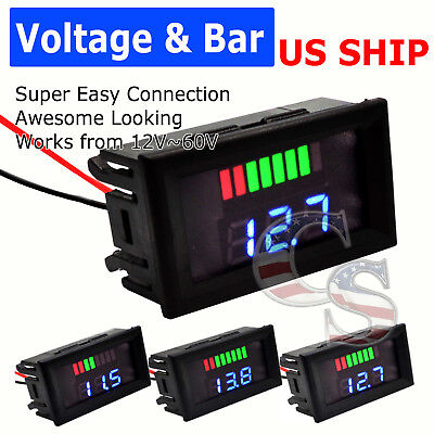 12V-60V Lead Acid LiFePO4 18650 Battery BMS Capacity Guage Level Indicator Meter