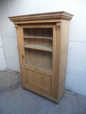 A Shallow Carved Victorian Antique/Old Pine 1 Door Display Cabinet to Wax/Paint