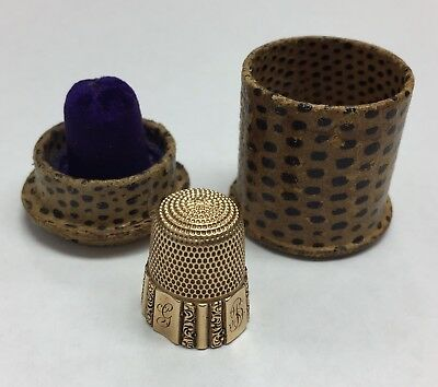 14k Gold  Vintage Sewing Thimble Floral Filigree With Case 5.2 Grams Size 9 Mono