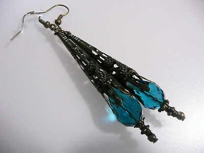 Vintage Art Deco Style Turquoise Teardrop  Crystal Long Earrings Prom Steampunk