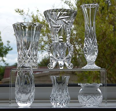 LOT 6 Cut CRYSTAL Small FLOWER VASES - EDINBURGH WEBB CORBETT CZECH 6cm - 18cm H