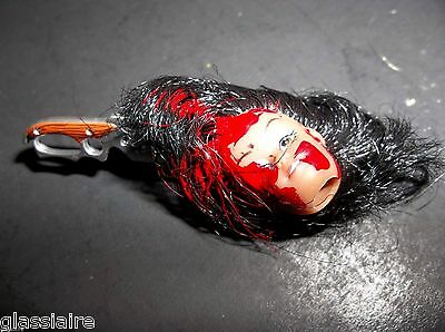 Vintage Mini SEVERED HEAD Halloween PROP KNIFE Bloody SCARY