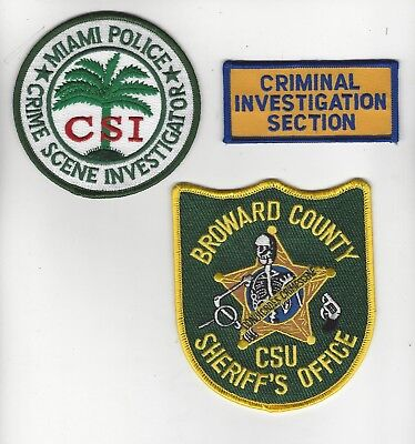 3 South Fla Crime Scene Police Patches-  RESTRICTED SALE
