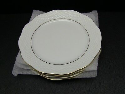 4 HEREND Feher Basketweave Scalloped Edge WHITE Salad Plates W/Gold Rim 7 1/2""