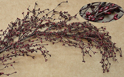 New Country Primitive Floral BURGUNDY BERRY GARLAND Pip Berries Swag Vine