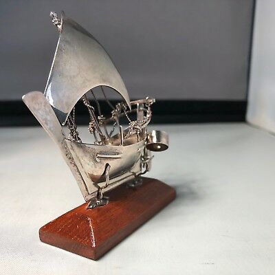 Omani Miniature Decorative Silver Dhow on Wooden Stand
