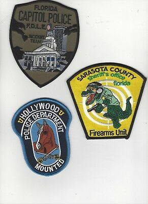 3 Different Florida Police Patches Special Units